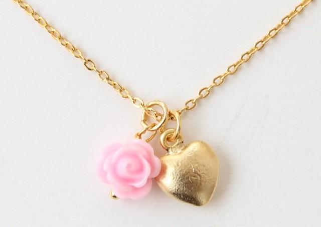 flower girl gift flower girl necklace flower girl heart