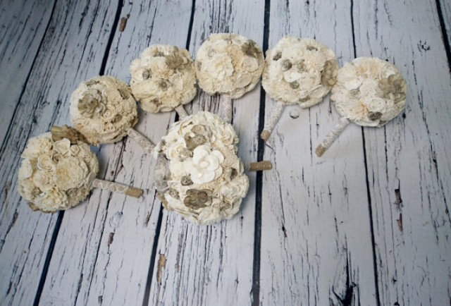wedding photo - Bridal PACKAGE cream brown rustic wedding 1 MEDIUM 6 small BOUQUETS Ivory Flowers, Burlap Handle, Bride Bridesmaids, sola roses vintage
