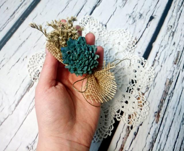 wedding photo - Teal turqoise rustic wedding Rustic BOUTONNIERE / CORSAGE groomsman ring bearer boutonniere Sola Flower dried limonium burlap custom
