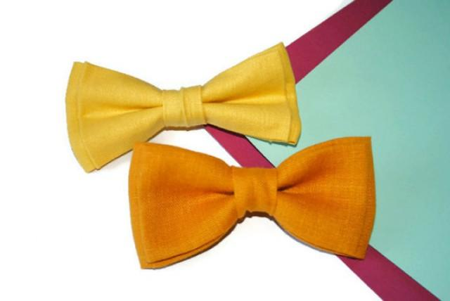 wedding photo - Yellow wedding Yellow bow tie linen Mustard wedding Mustard bowtie men Summer wedding Bow ties for ringbearer Infant Newborn bow tie Preteen