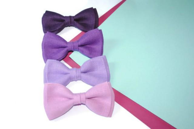 wedding photo - Purple bow tie Purple wedding Mauve bow ties Mauve wedding Lilac bowties Lilac wedding Lavender tie Lavender wedding Plum Eggplant Set of 4