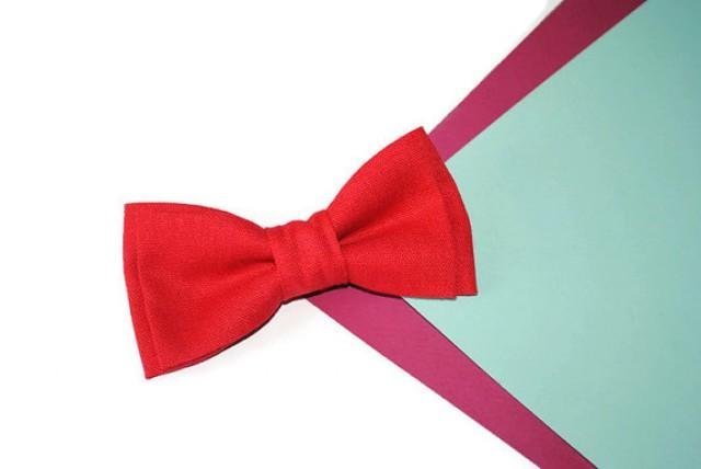 wedding photo - Red bow tie Red wedding Linen bow tie for wedding Father-in-law bow tie Baby boys photo prop bowtie Men's bow tie Gift for him from her Ties