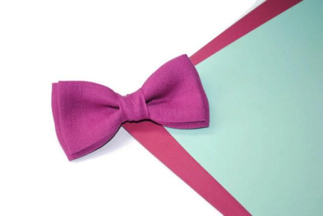 wedding photo - Fuchsia wedding Fuchsia bowtie Linen bow tie For kids For toddlers Wedding necktie Groom's tie Groomsmen ties Fuchsia handkerchief Father's