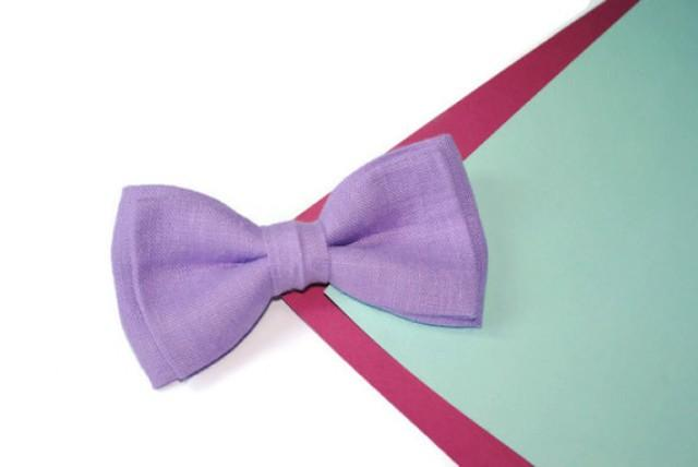 wedding photo - Lilac wedding Lavender bow tie Lilac bow tie Lavender wedding Lilac linen men's tie Lavender kids bow ties For infant Toddler necktie Grooms