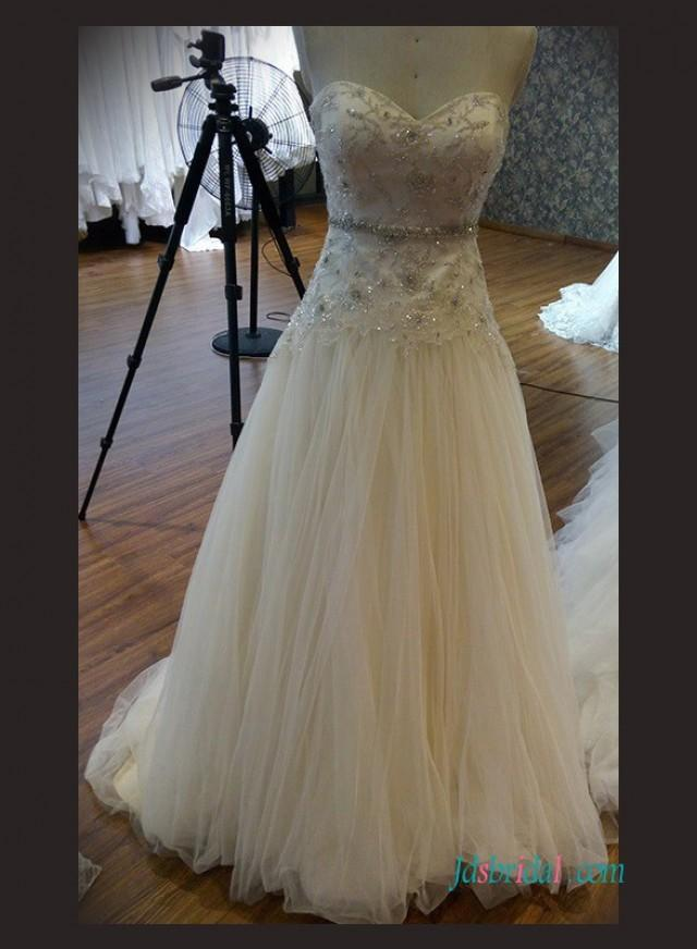 wedding photo - Beaded lace tulle flowy wedding dress with bling