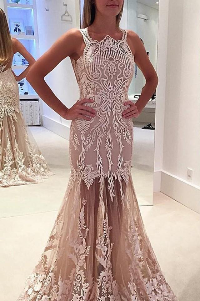 wedding photo - Mermaid Jewel Illusion Back Sweep Train Light Champagne Prom Dress with Lace Appliques