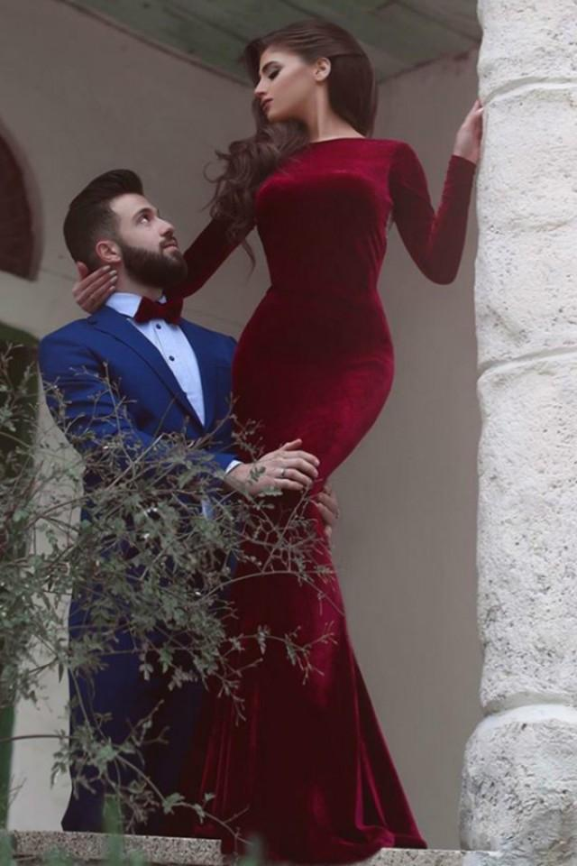 wedding photo - Mermaid Bateau Long Sleeves Sweep Train Burgundy Backless Prom Dress with Beading