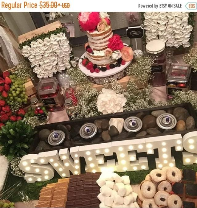 On sale candy bar smores table centerpiece