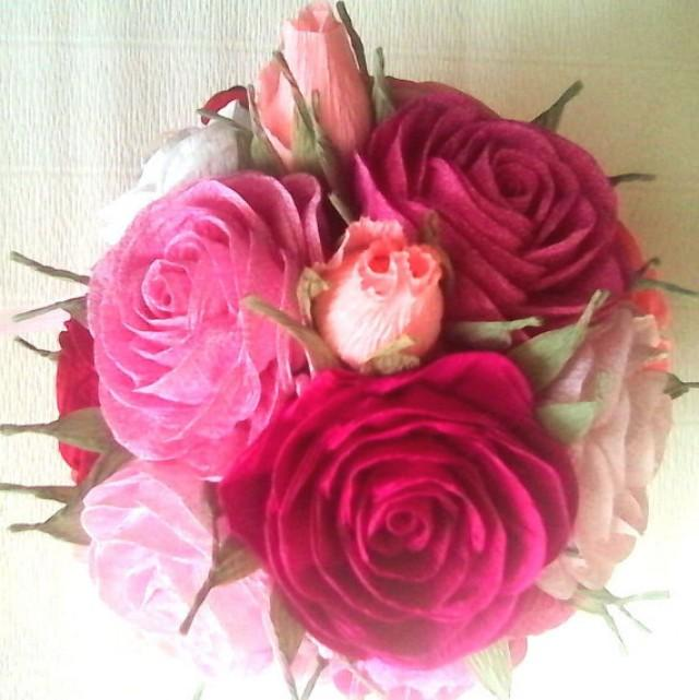 Crepe Paper Roses Flowers Baby Shower CENTERPIECE Baptism Flower ...