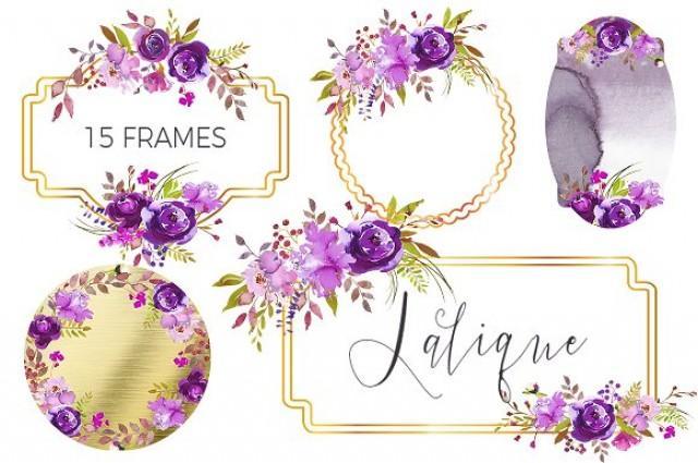 wedding photo - Lalique-embellished floral frames.