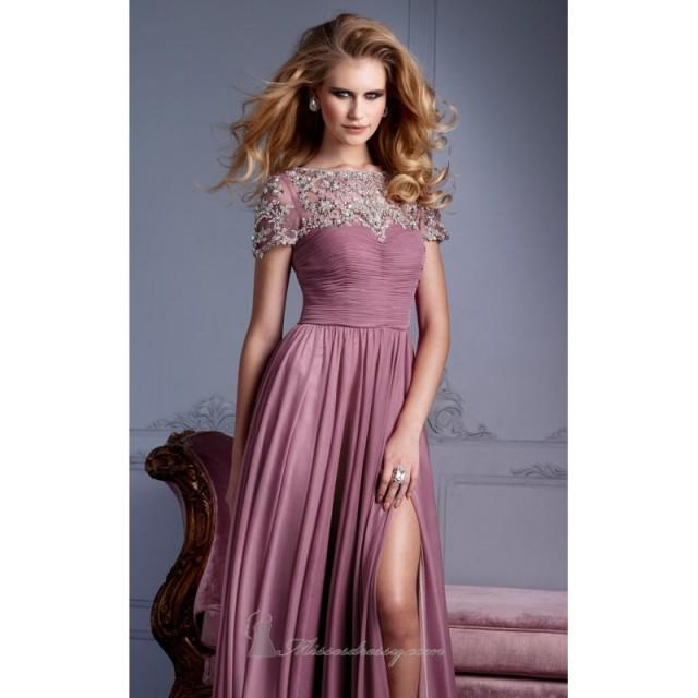 Affordable Cheap 2014 Ruched Beaded Short Sleeves Gown By Terani ...