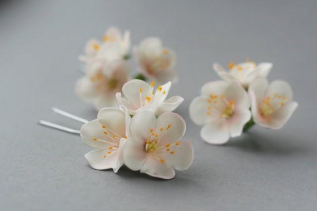 wedding photo - Apple blossom Hair Pin, bridal hair flower, bridal flower hair pin, wedding flower hair pin, wedding hair flower, bridal hair accessory