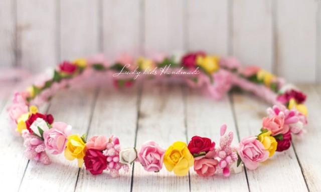 wedding photo - Colorful flower crown, Wedding flower head piece, Multicolor flower hair accessory, Bright flower headband, garden wedding, Pink and yellow