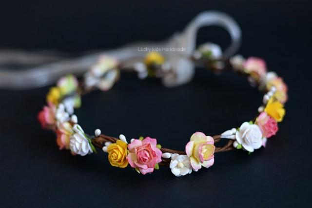 wedding photo - Pink and peach flower crown, Floral crown pink peach, Flower girl halo, Woodland garden wedding bridal, Floral headband, Peach yellow halo