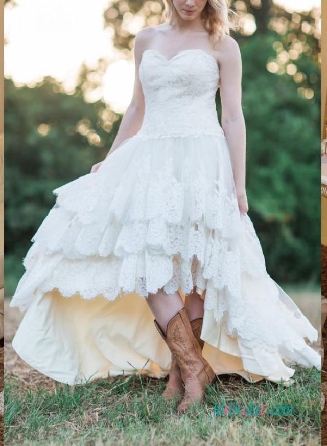 wedding photo - Strapless bohemian high low wedding dress with tiered skirt