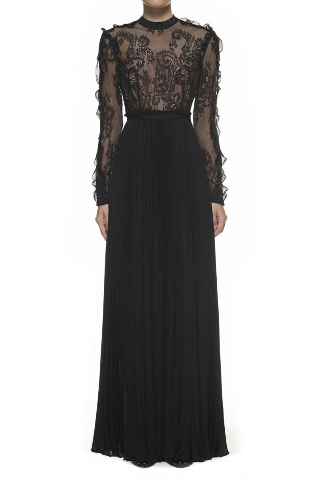 wedding photo - Self-Portrait Moni Lace Pleated Dress Black