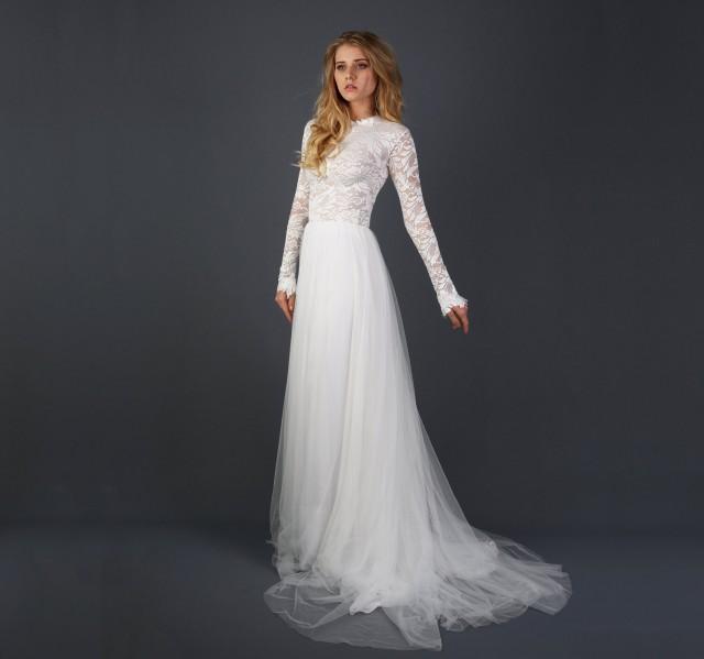Beautiful Lace Long Sleeve Wedding Dress With Silk Chiffon