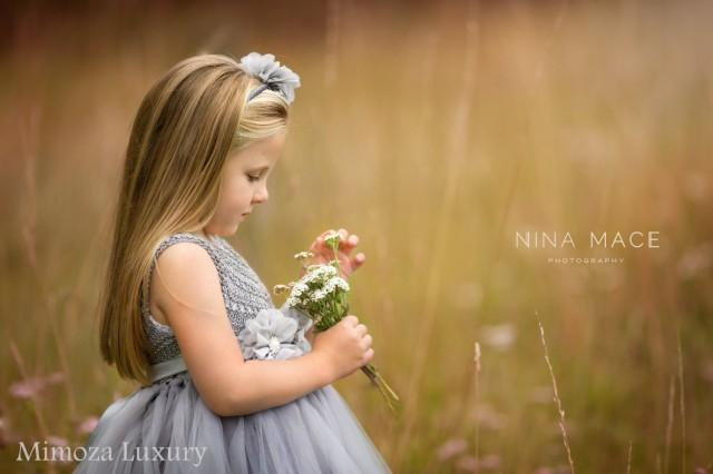 wedding photo - Silver Gray Grey Flowergirl dress, tutu dress, bridesmaid dress, princess dress, silk crochet top tulle dress, hand knit silk top tutu dress