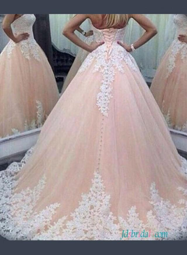 wedding photo - Blush Sweetheart princess pink colored ball gown wedding dress