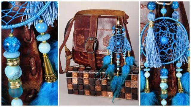 wedding photo - Blue keychain Dreamcatcher blue Keychain Dream Catcher turquoise Dreamсatcher dreamcatchers Keychain handmade gift boho blue decor Bohemian