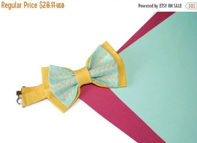 wedding photo - SALE 25% OFF Yellow bow tie Chevron bow tie Mint bow tie Chevron wedding Yellow wedding Men's bow tie Bow tie for groom Bow ties for men Bow