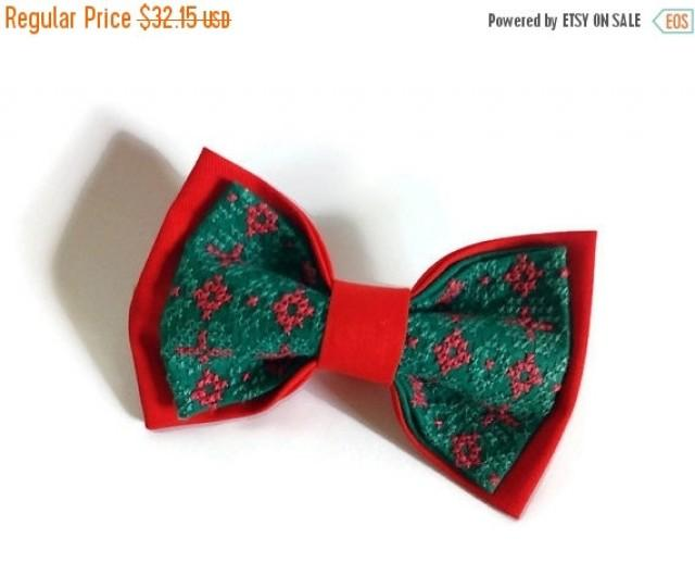 wedding photo - SALE 25% OFF For him gift Red jade men bow tie His anniversary gifts Wedding red and green Groom's gift from mother Father-in-law gift ideas