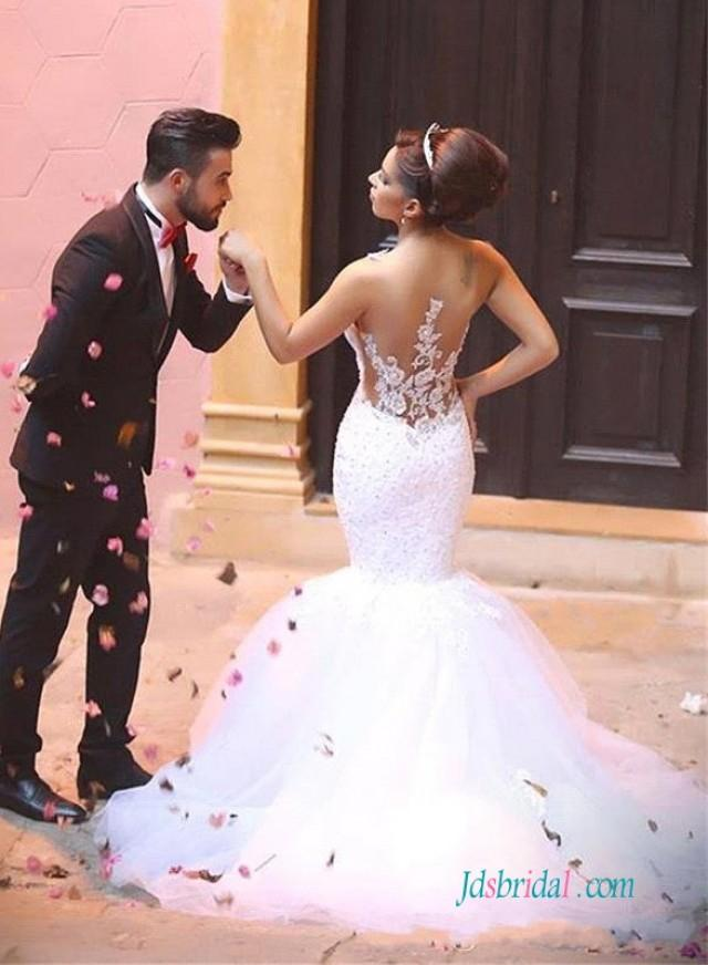 wedding photo - Sexy sheer back lace mermaid wedding bridal dress