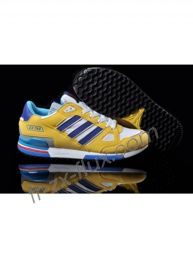 new arrival 2844a f6040 wedding photo - Pas Cher - Adidas Zx 750 Femme Blanc Jaune Bleu Roi