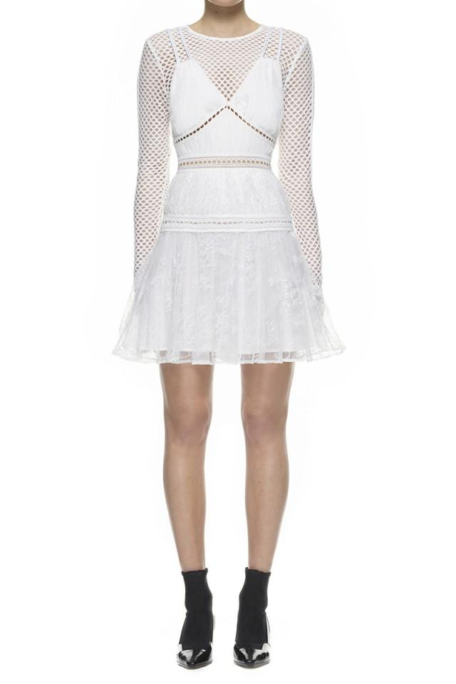 wedding photo - Self-Portrait Caro Mini Dress White