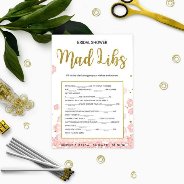 wedding photo - Pink and Gold Bridal Shower Mad Libs Game-Golden Glitter Floral DIY Printable Mad Libs Game-Personalized Bridal Shower Game-Bridal Mad Libs