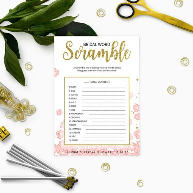 wedding photo - Pink and Gold Bridal Shower Word Scramble-Golden Glitter Bridal Shower Printable Word Scramble-DIY Floral Bridal Shower Game-Bridal Party