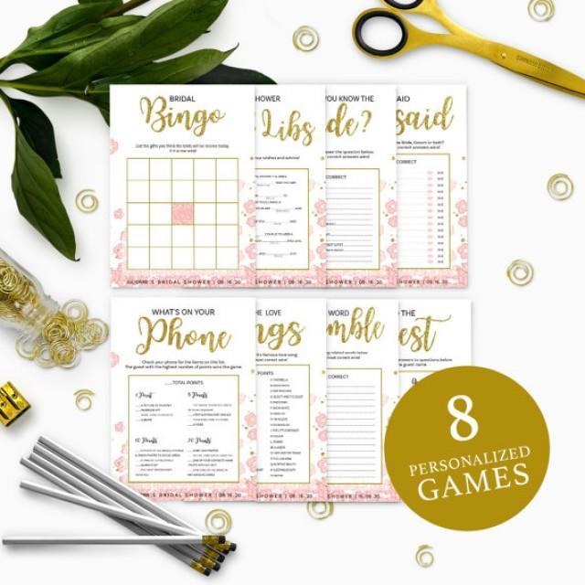 wedding photo - Pink and Gold Bridal Shower Games Package-Bundle 8 DIY Printable Bridal Shower Games-Golden Glitter Floral Personalized Bridal Shower Games