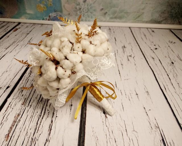 Natural organic raw cotton bolls gold ferns rustic wedding BOUQUET autumn winter winterwonderland elegant lace sparkle glitter original