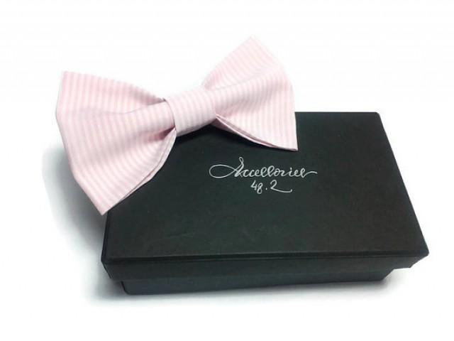 wedding photo - Mens bow tie Blush bow tie Pink bow tie Striped Bow tie Wedding bow tie for men bow tie for Father bow tie for groom bow tie for wedding gyy