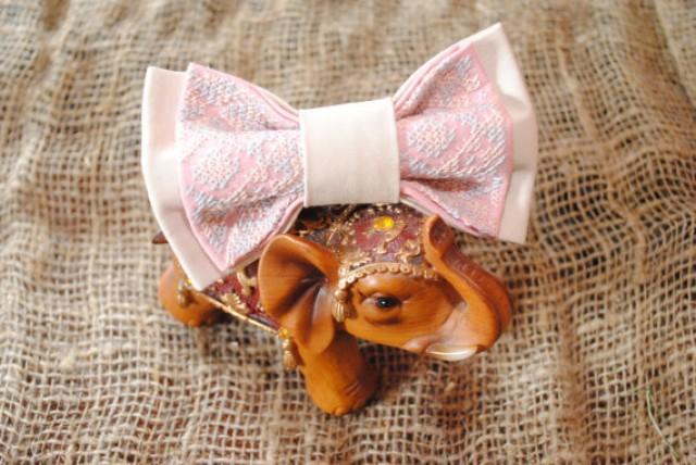 wedding photo - Blush wedding Blush bow tie Pink beige wedding Men's bowtie Embroidery Gift groom Groomsmen blush ties Wedding bow ties blush tie for groom