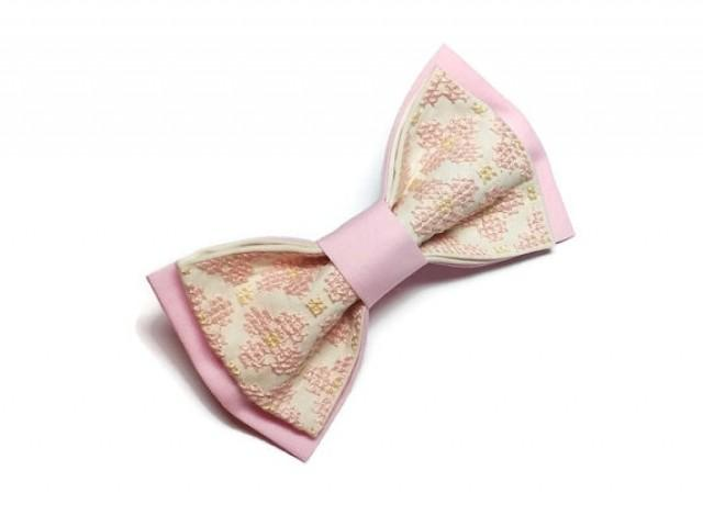 wedding photo - Blush wedding necktie Pink wedding bow tie Will you be my groomsman gift Father of the groom gift Wedding blush bowtie Light pink groom tie