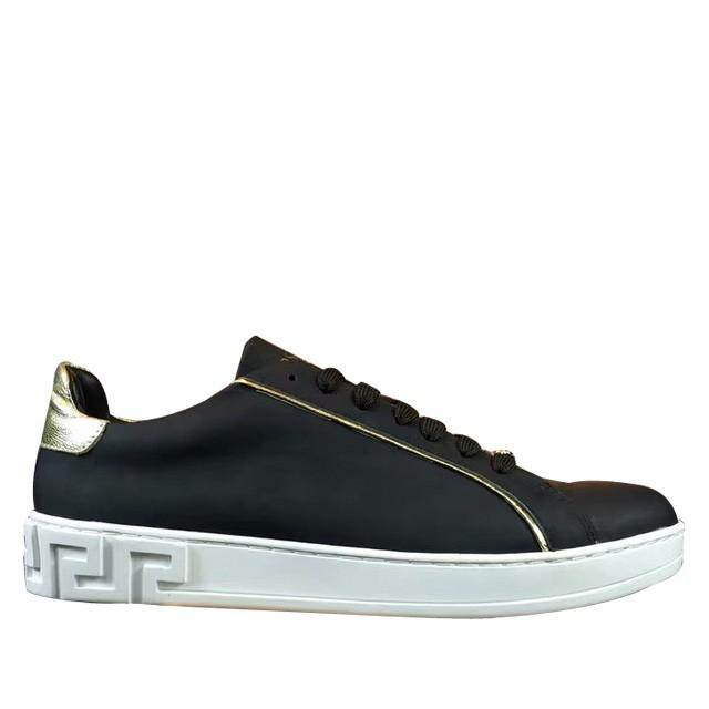 wedding photo - Versace Golden-Trim Leather Low-Top Sneaker