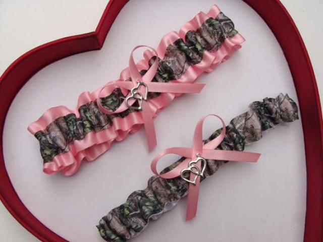 wedding photo - Wedding Garters Mossy Oak Baby Pink Camouflage Camo Set Keepsake Toss Plus Size Wedding Garters Prom