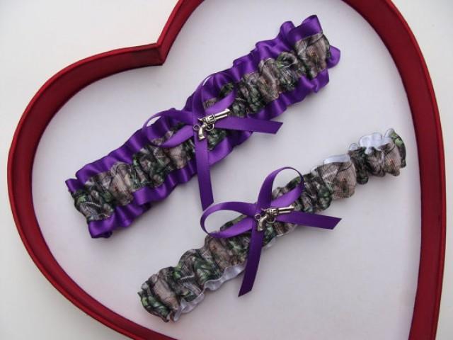 wedding photo - Wedding Garters Mossy Oak Purple Camouflage Camo Set Keepsake Toss Plus Size Wedding Garters Prom