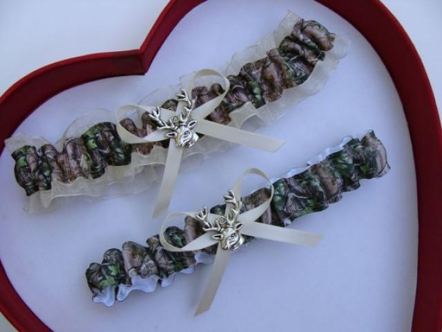 wedding photo - Wedding Garters Mossy Oak Ivory Camouflage Camo Set Keepsake Toss Plus Size Wedding Garters Prom