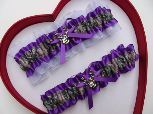 wedding photo - Wedding Garters Mossy Oak Purple White Camouflage Camo Set Keepsake Toss Plus Size Wedding Garters Prom