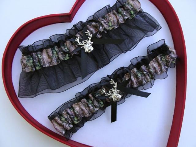 wedding photo - Wedding Garters Mossy Oak Black Camouflage Camo Set Keepsake Toss Plus Size Wedding Garters Hunting Prom Gun