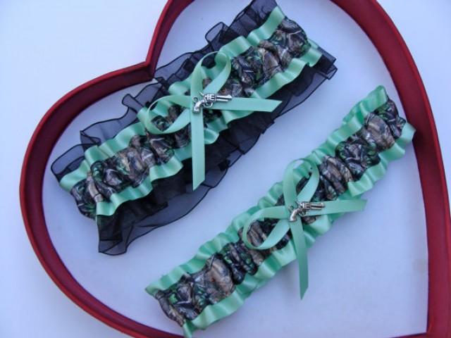 wedding photo - New Mint Green Black Mossy Oak Camouflage Camo Wedding Garter Prom GetTheGoodStuff