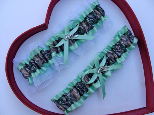 wedding photo - New Mint Green White Mossy Oak Camouflage Camo Wedding Garter Prom GetTheGoodStuff
