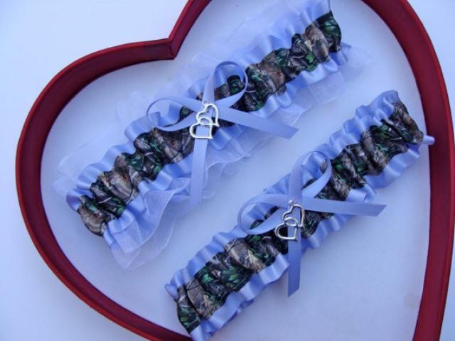 wedding photo - New Iris White Mossy Oak Camouflage Camo Wedding Garter Prom GetTheGoodStuff