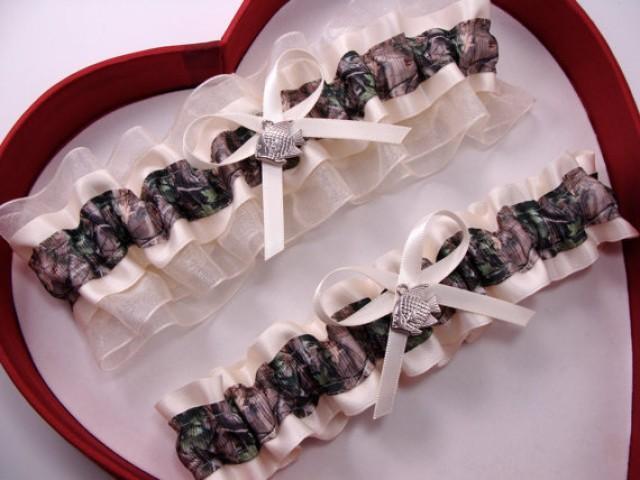 wedding photo - New Ivory Mossy Oak Camouflage Camo Wedding Garter Prom GetTheGoodStuff