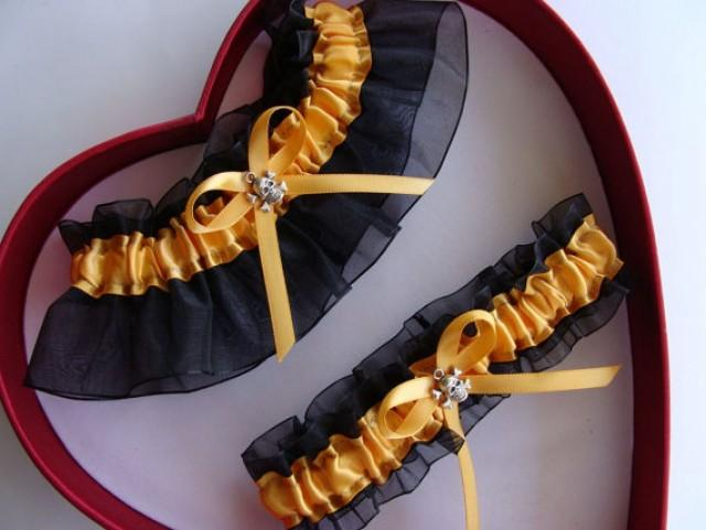 wedding photo - New Wedding Garter, Gold, Black- Wedding Garter Set, Select Keepsake Garter Toss Garter Plus size/ Regular size