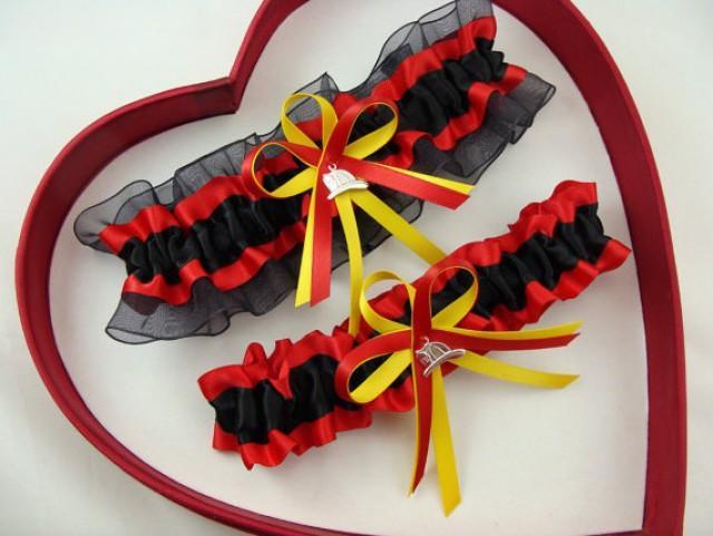 wedding photo - New Black Red Yellow FireFighter Fire Man Wedding Garter Prom GetTheGoodStuff
