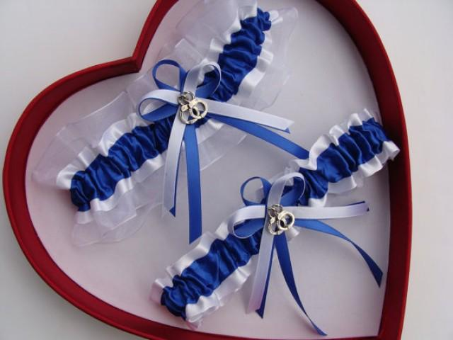 wedding photo - Wedding Garter, Royal Blue White - Wedding Garter Set, Select Keepsake Garter Toss Garter Plus Size Garter
