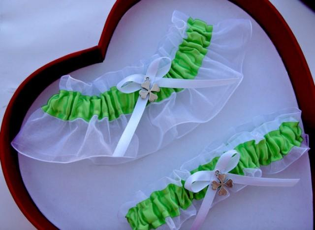 wedding photo - New Wedding Garter Apple Green White Wedding Garter Prom Four Leaf Clover Shamrock
